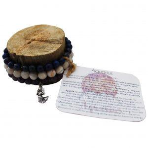 Aquarius Zodiac Gemstone Bracelet