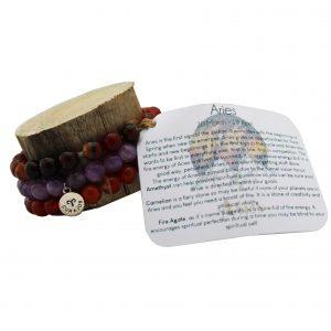 Aries Zodiac Gemstone Bracelet