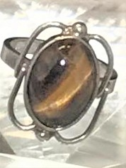 Tiger Eye (Brown) Oval Framed Silver Ring