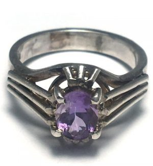Amethyst Oval Solitaire Silver Ring