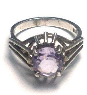Amethyst Round Solitaire Silver Ring