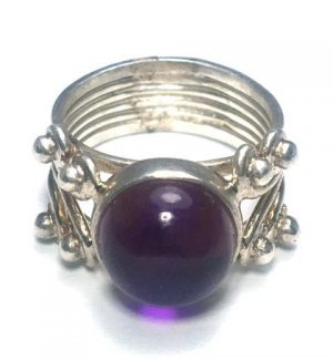 Amethyst Quad Dot Silver Ring