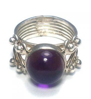 Amethyst Quad Dot Silver Ring