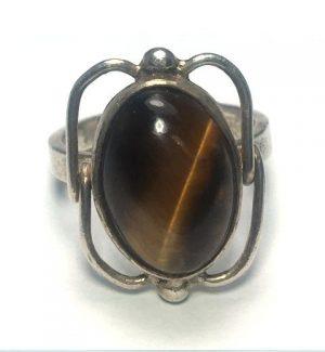 Tiger Eye (Brown) Oval Framed Silver Ring
