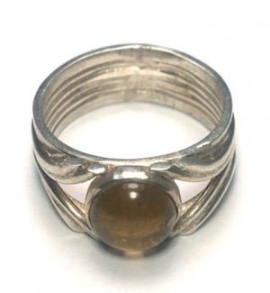 Citrine Round Spilt Silver Ring
