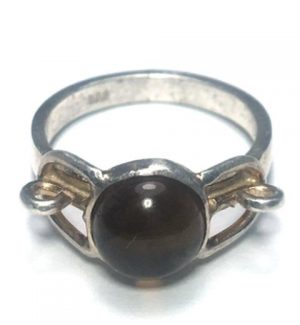 Citrine Round Lock Silver Ring