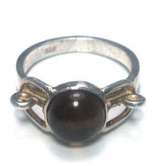Citrine Round Lock Silver Ring