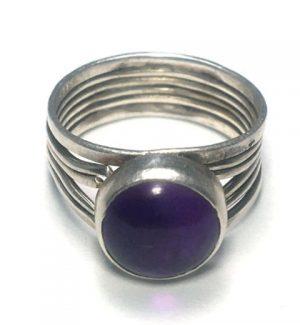 Amethyst Round Spilt Silver Ring