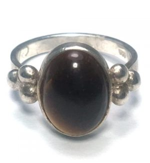 Tiger Eye (Brown) Tri Dot Silver Ring
