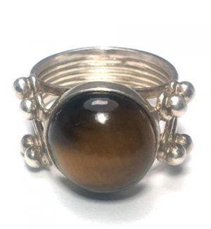 Tiger Eye (Brown) Round Silver Ring