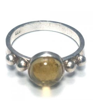 Citrine Round Duo Dot Silver Ring