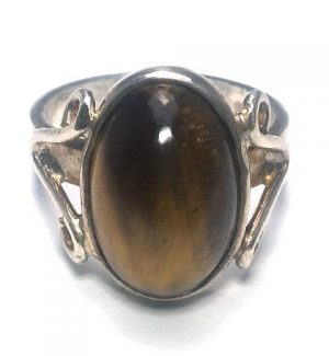Tiger Eye (Brown) Oval Silver Ring