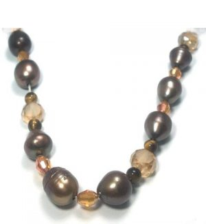 Brown Freshwater Pearl and Crystal Necklace