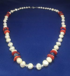 Cream Fresh Water Pearl and Lapis Lazuli Necklace
