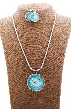 Psychedelic Electric Mandala Jewellery Set