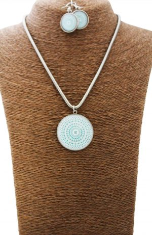 Cool Turquoise Mandala Jewellery Set