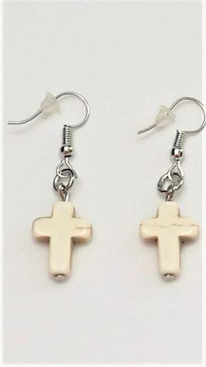 Cream Stone Cross Earrings