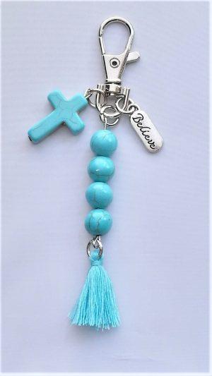 Turquoise Stone Believe Keychain