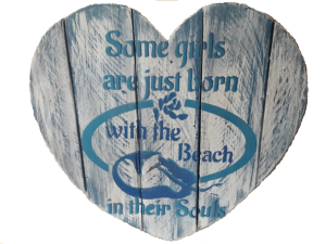 Beach girls heart shaped wall hanging