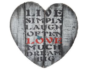 Live simply heart shaped wall hanging