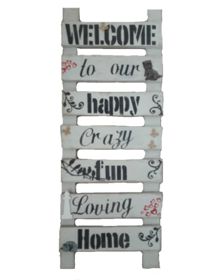 Welcome to our happy home wall hanging