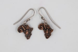 Coin shaped into Africa Earrings