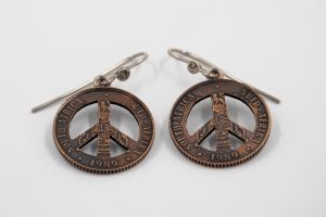 Coin shaped into Peace Sign Earrings