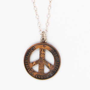 Coin shaped into Peace Sign Pendant